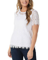 Isaac Mizrahi Live! Engineered Lace Short-Sleeve Knit Top White X-Small A353862