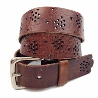 Vtg Womens Brown Hand Tooled Floral Leather Perforated Belt Boho Chic Sz M