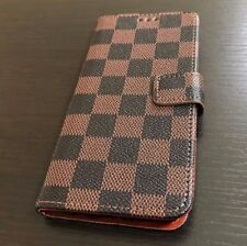 Samsung Galaxy Note 8 - Card Wallet Diary Pouch Case Cover Brown Checker Plaid