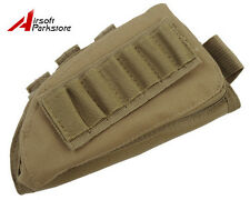 Airsoft Tactical Military Rifle Stock Ammo Pouch Holder w/ Cheek Leather Pad Tan