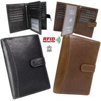 große Herren Leder Brieftasche Geldbörse viele Fächer RFID Schutz in  2-Farben