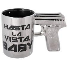 Novedad plata PISTOLA EMPUÑADURA hasta la vista Gres té café taza Taza
