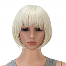 SWACC 10 Inch Short Straight Bob Wig with Bangs Synthetic Colorful Cosplay Daily