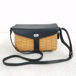 Longaberger Black Leather & Wicker Basket Crossbody Purse