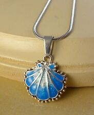 SMALL BLUE SHELL enamel pendant necklace gifts for girls women fashion jewelry