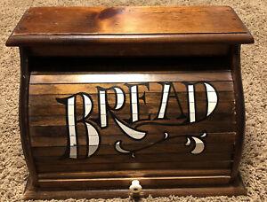 Vintage Wood Roll Top Bread Box Rustic Primitive Country Kitchen Décor MCM
