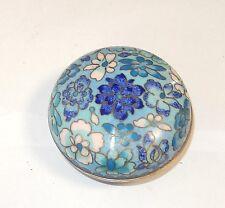 CHINESE CLOISONNE BLUE ENAMEL FLORAL DESIGN JAR BOWL BOX