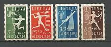 Lietuva Lithuania Litauen 1938 MNH Mi 417-420 Sc B43-46 National Olympiad issue