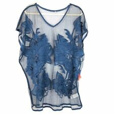 Forever 21 Blue Sheer Swimsuit Coverup w Floral Design for Beach, Lake, Pool