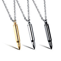 Mens Silver Gold Black Stainless Steel Bullet Cylinder Pendant Chain Necklace