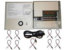 8 CH Channel Power Supply Box CCTV Camera 9 Port 12V w/ 9 Free Pigtails Dc Jack