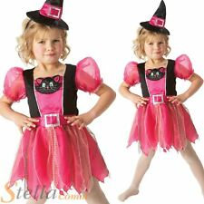 Girls Pink Kitty Witch Halloween Fancy Dress Costume Kids Child Outfit