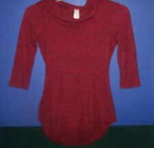 Women's/Teen's Red/Black Sweater w Turtle Neck and Open Oval in Back sz S 3-5