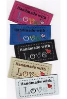 Fabric Labels 'Hand Made With Love' Sew On Garment Clothing Label Tags 50x25mm