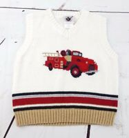 Good Lad Boys 2 Ivory Red Brown Fire Engine Sweater Vest V Neck CH39