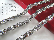 """16""""-36"""" Mens Womens Stainless Steel Diamond Cut Rope Chains Gene Chains Necklace"""