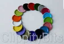 "10 x COLOURED 1"" BOTTLE CAPS FLATTENED FLAT FOR IMAGES HAIR BOWS KEYRINGS CRAFTS"