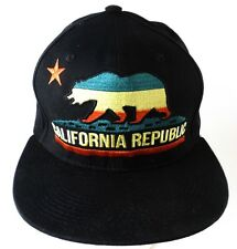 California Republic Flat Bill Rainbow Bear Leader Loga Snapback Cap Hat Black