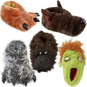 Mens Slippers New Fur Novelty Bear Claw Bull Dog Slippers Winter Warm Shoes Size