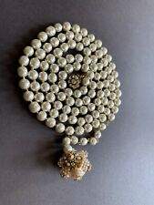 "Sign Miriam Haskell Huge Baroque Pearls Rhinestone Flower Necklace 39"" Long"
