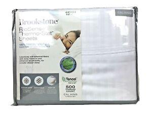 Brookstone BioSense 500 TC 4 Piece Sheet Set Lyocell Cal-King White Stripe $200