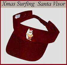 SURFING SANTA CHRISTMAS Red SUN VISOR Summer CAP HAT Unique ~ Unisex Mens Womens