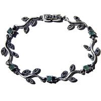 Vintage Emerald Art Deco Bracelet Silver Vines Gift 925 Marcasite Natural Gems