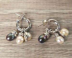Honora Sterling Silver 925 Interchangeable Pearl Slide On Hoop Earrings