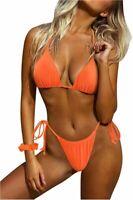 SUUKSESS Women String Bikini Set Tie Side Thong Sexy, 25 Orange, Size 2.0 8jeK