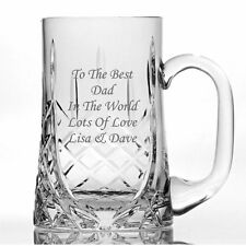 Personalised Engraved 4oz Cut Crystal Tankard New Baby//Christening Gift Silk Lined Gift Box
