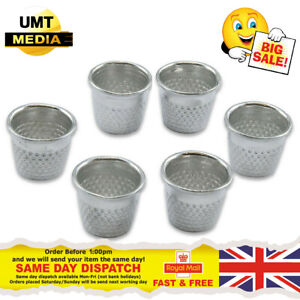 6 X Metal Thimbles - Finger Sewing Grip Shield Protector For Pin Needle Large