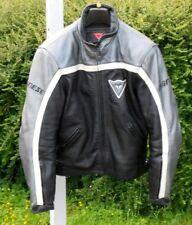 DAINESE blouson moto cuir grainé silver & noir T 44 = T S TBE