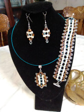 Ooak Handmade Beadwoven Amber, Ivory, and Blue Necklace Bracelet & Earrings