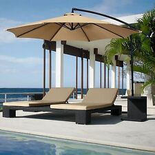 New listing 10' Hanging Umbrella Patio Terra Cotta Uv Resistant Shade Offset without Base