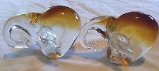 Two Vintage Brown Glass Elephant Figurines/Paperweights