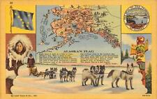 ALASKA FLAG DOG SLED TOTEM POLE ESKIMO MAP CURT TEICH POSTCARD (c. 1940s)