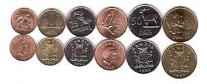 Zambia - set 6 coins 1 2 25 50 Ngwee 1 10 Kwacha 1983 - 1992 UNC Lemberg-Zp