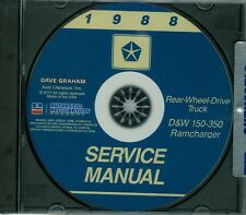 1988  DODGE TRUCK SHOP/BODY  MANUAL ON CD-COVERS  D & W 150-350 RAMCHARGERS