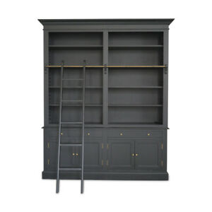 Hamptons Halifax Double Buffet and Hutch Bookcase with Ladder