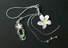 Cell Phone Charm Strap Enamel Plumeria Flower For Mobile Crystal Free Shipping