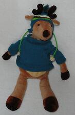 """Bath & Body Works Stuffed Plush Tassel Reindeer wearing Blue Hat Sweater 18"""""""