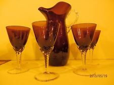 Amethyst Hand blown Pitcher Etched  6 piece glass water or tea Set  Goblets