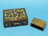 EARLY MID CENTURY CHINESE ENAMEL ON BRASS & WOOD CIGARETTE BOX  + MATCH HOLDER