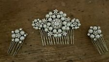 Bridal Triple Hair Comb Set of 3 Diamante ivory pearl Vintage Gatsby hair piece