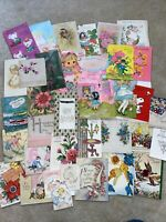 Vintage Greeting Cards Lot- 1940s And Up. 35 Cards- Ephemera- Mixed Lot- F