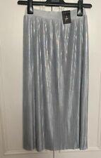 Silver Iridescent Pearly Mermaid Skirt New 8 Midi