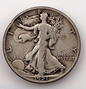 1921-D  Silver Walking Liberty Half Dollar in VG/Fine Condition