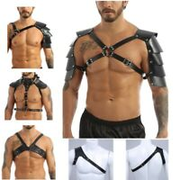 Mens Lingerie Faux Leather Adjustable Body Chest Harness Straps O-rings Costumes