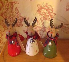 Rudolph Christmas Ornaments - set of 3 - metal hand painted reindeer Bnwt