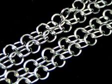 2 metros de cadena rolo chapado en plata 5mm X 5mm Enlaces Joyería Artesanal Cuentas S11